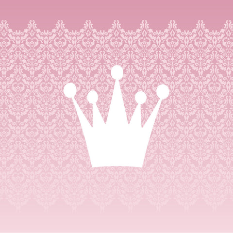 White Princess Crown Pink Damask Canvas Wall Art Kids Decor