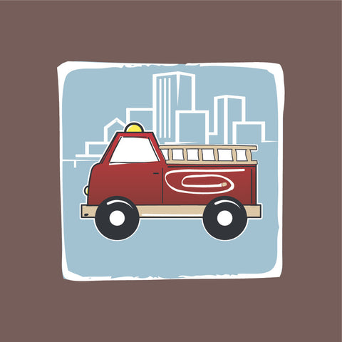 Firetruck Canvas Wall Art, brown, red, blue themed room decor