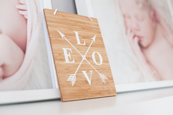 LOVE arrow bamboo sign