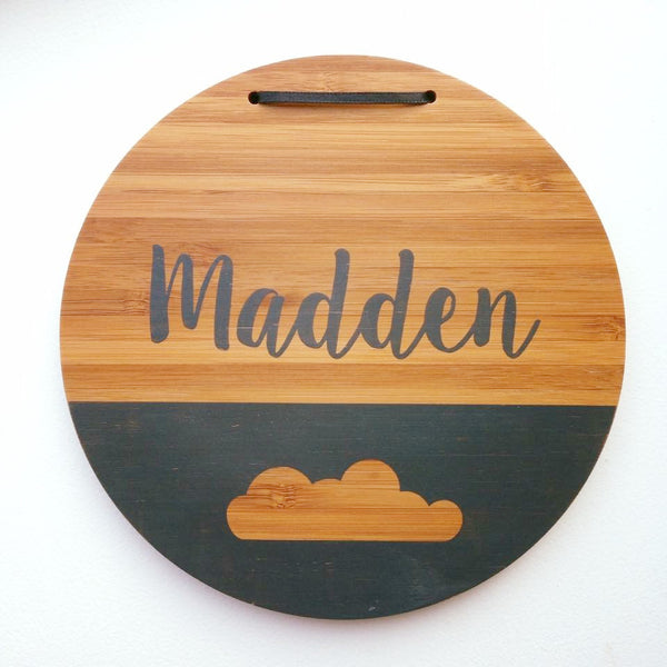 Boy Personalized Name Plaque (Cloud) Charcoal - Homeworks Etc