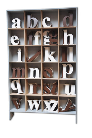 Lowerase wood wall hanging letters, white, espresso home decor