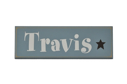 Blue and White Personalized Wood Name Plaque, boys