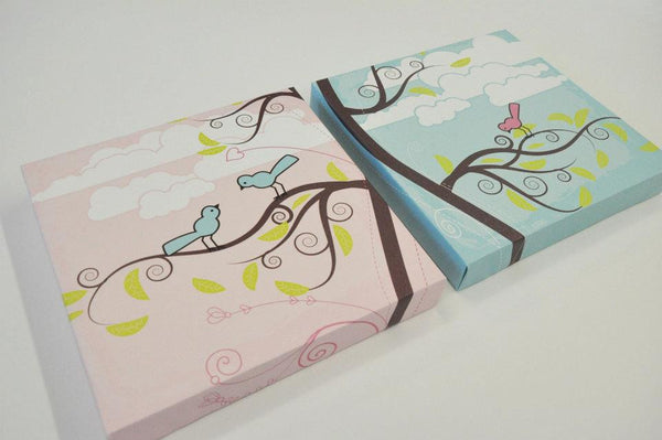 Pink and Teal Set of 2 Bird and Tree Canvas Wall Art Prints Nursery Decor