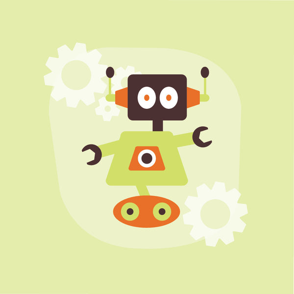 Lime and Orange Robot Canvas Wall Art