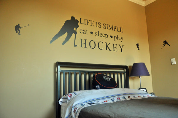 Life is Simple, Play Hockey, hockey bedroom, wall decal sticker quote