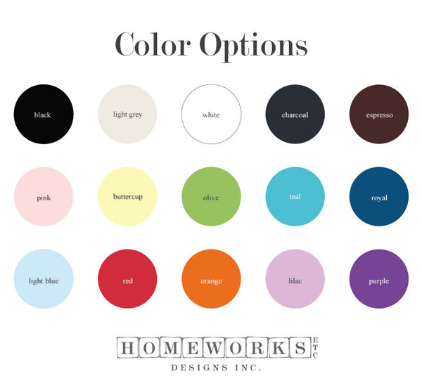 vinyl color options | Homeworks Etc designs home decor wall decals