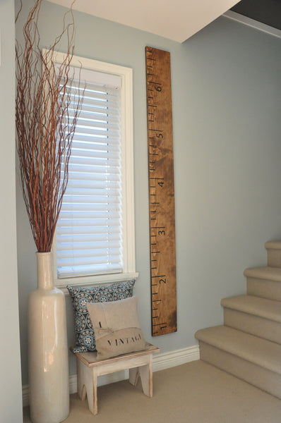 Stained Wood Ruler Growth Chart up to 6.5 feet, made in Canada