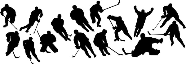 Hockey Player Silhouette Wall Decal Sticker Set of 15