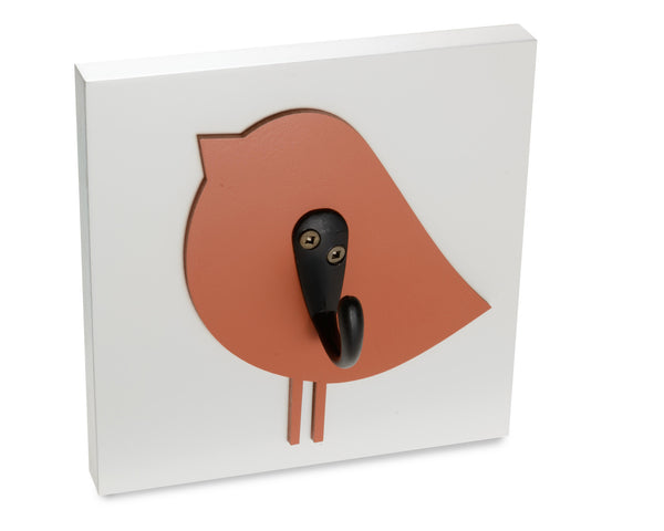 Bird wall hook, nursery and kids room decor, orange