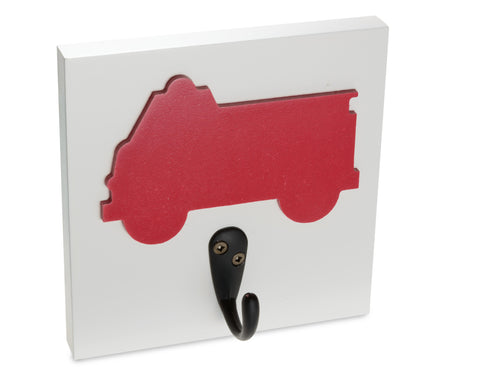 Red Firetruck Wall Hook, firefighter room decor theme