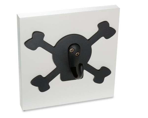 Pirate Skull and Bones Kids Room Wall Hook, black