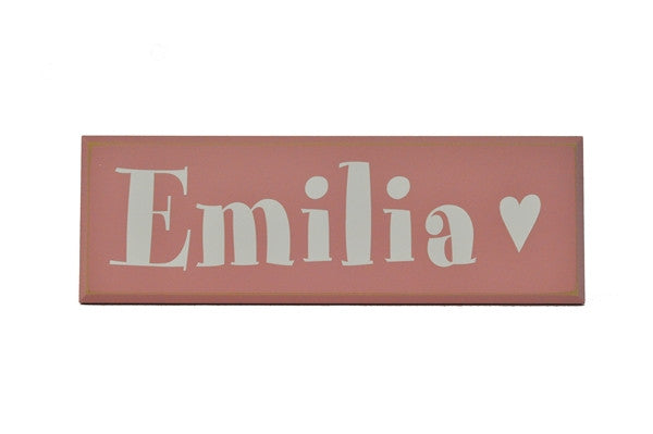 Girl name plaque, wood sign, pink, white, wall decor