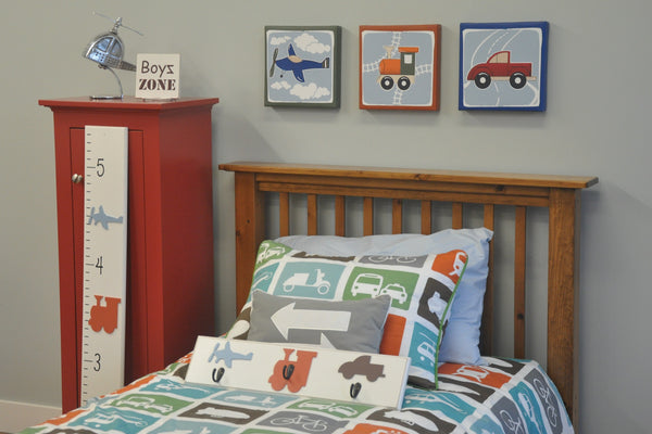 Transportation theme kids artwork, plane, train, truck boys room decor