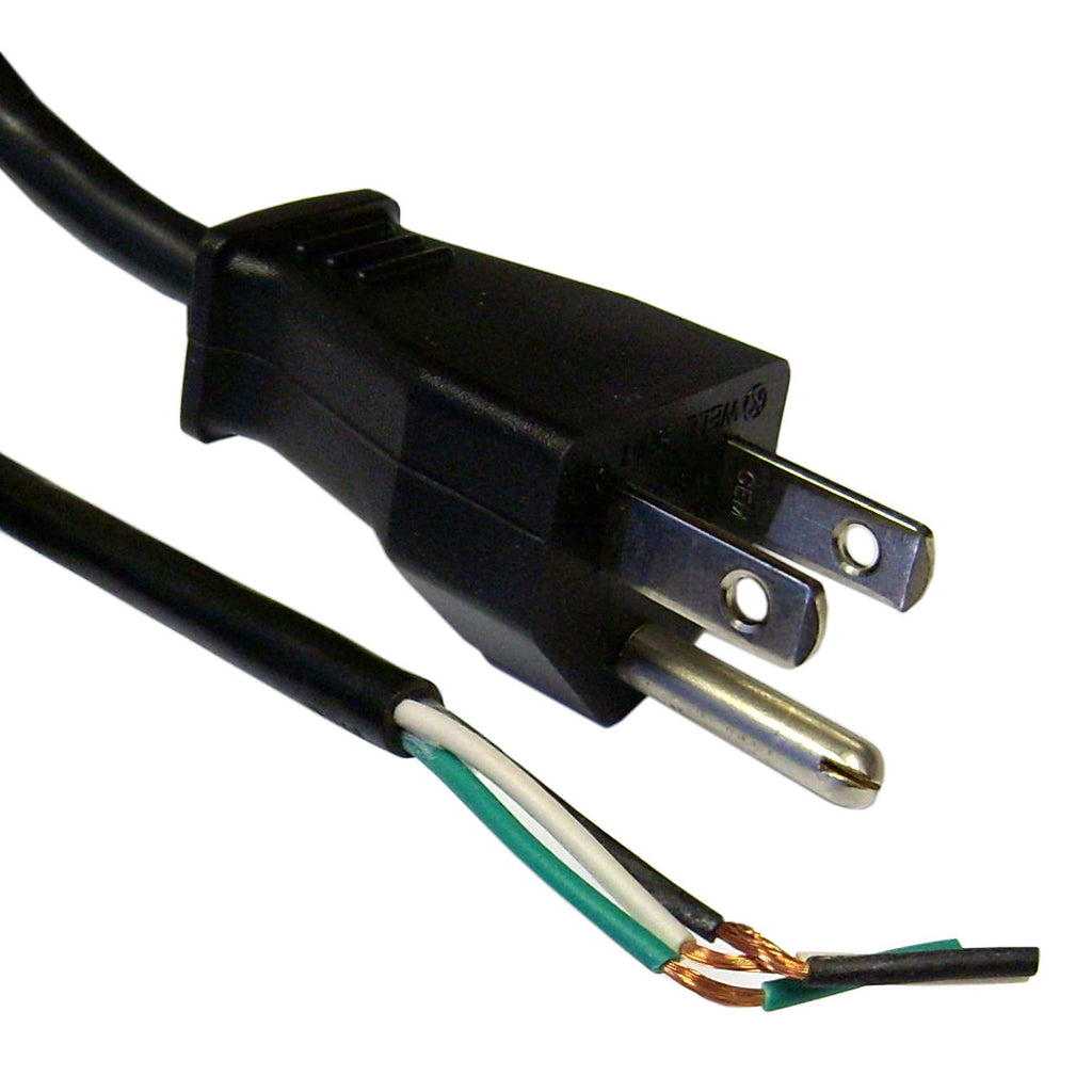 Power Cord Cable w/ 3 Conductor BARE WIRE - Black