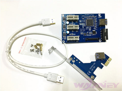 1 to 3 PCI express 1X slots Riser Card Expansion adapter PCI-e Port Multiplier (External & Internal) IN STOCK