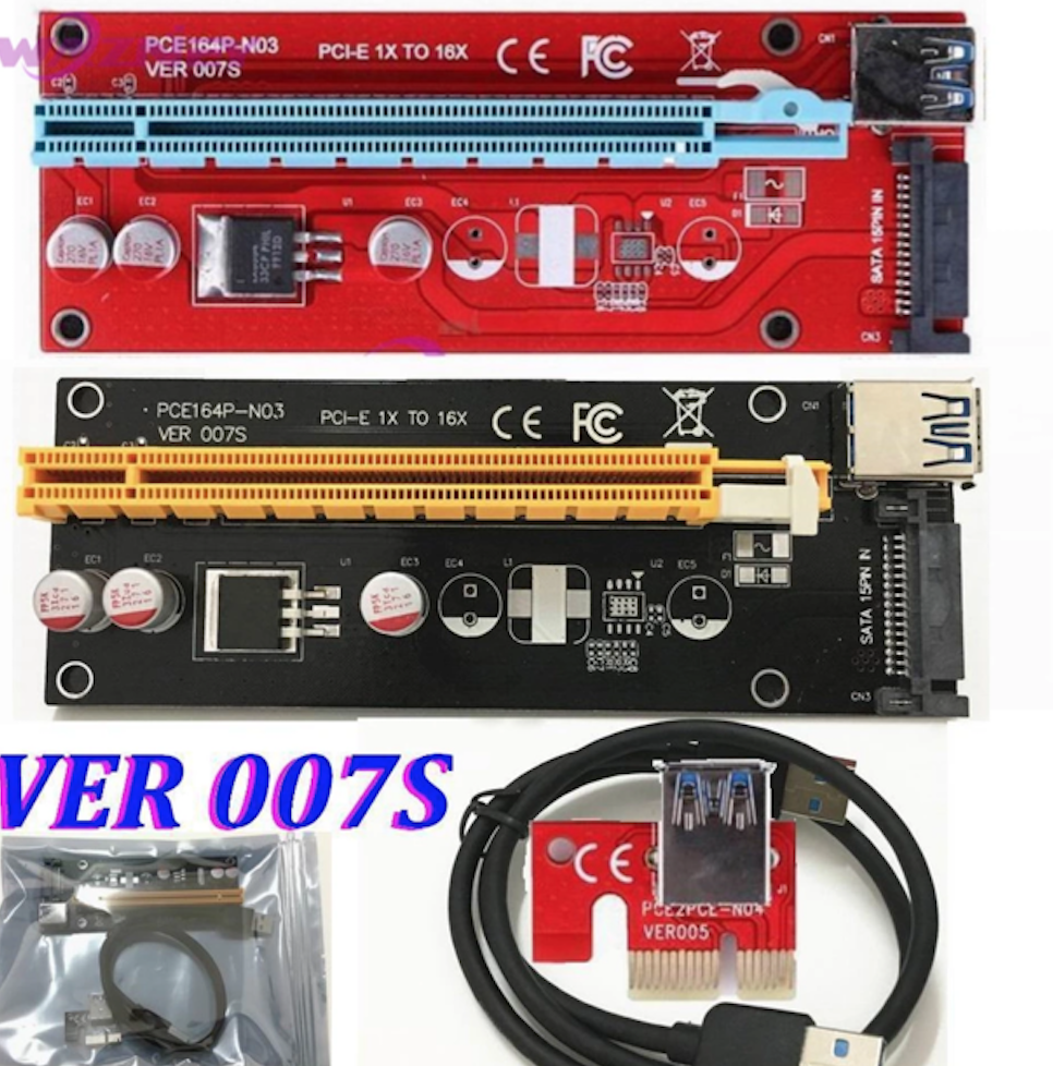 PCI-E Express 1x to 16x riser card with extended length USB 3.0 flex cable (ESATA power onboard) (LATEST Version 007s RED) (*BACKORDER*)