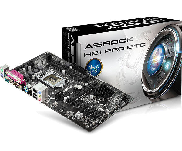 ASrock H81 Pro BTC motherboard with 6 PCI-E slots. (specifically designed for mining)