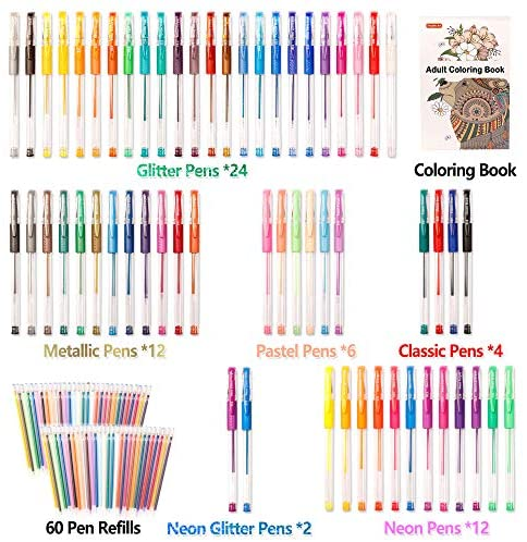 Gel Pen Set 6 Metallic 6 Glitter#32 12 Pack Assorted Colors