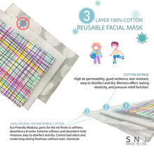 Load image into Gallery viewer, 3PCS THREE LAYERED 100% COTTON FACIAL MASK FOR KIDS