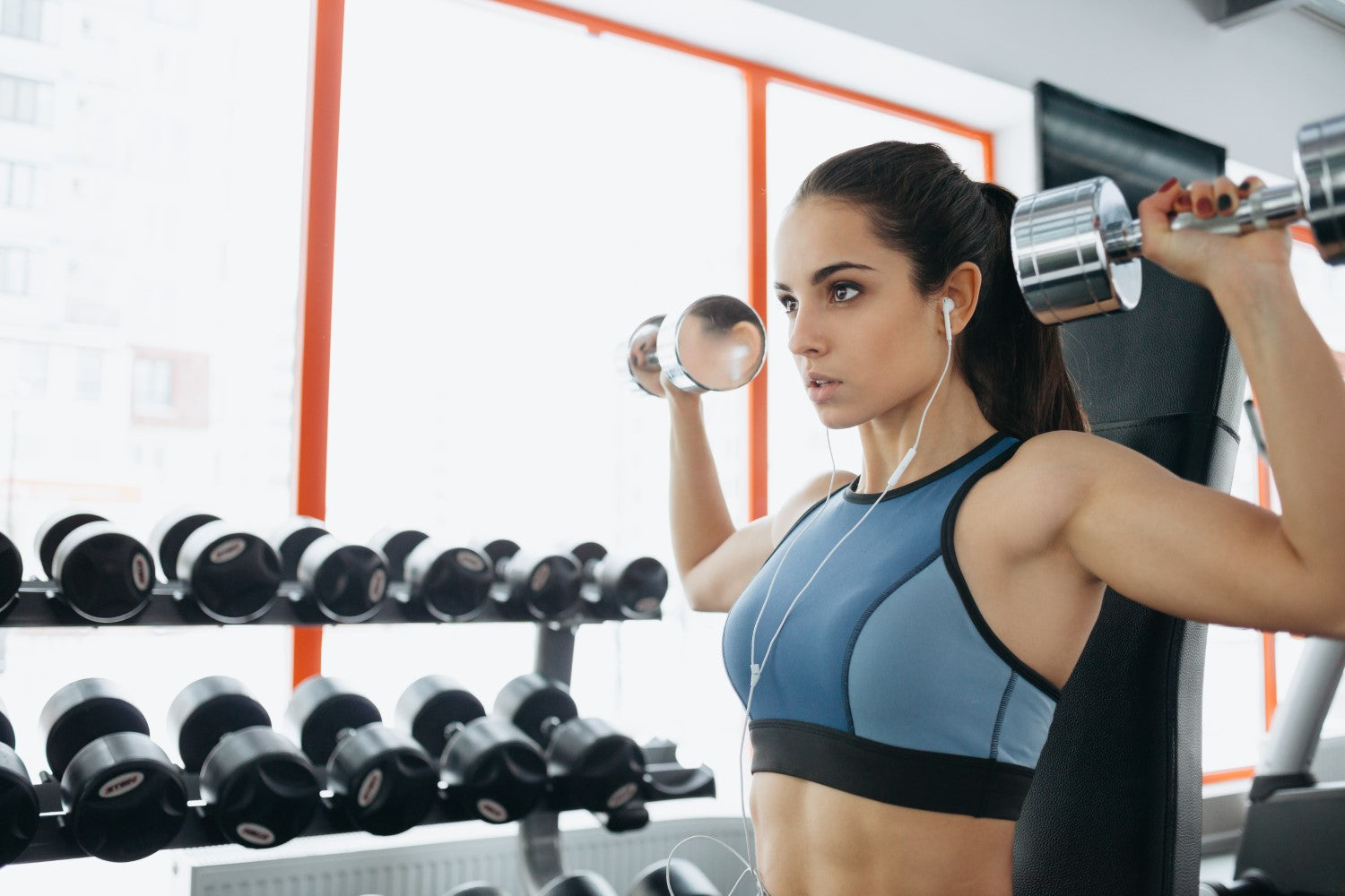 focused lady working out