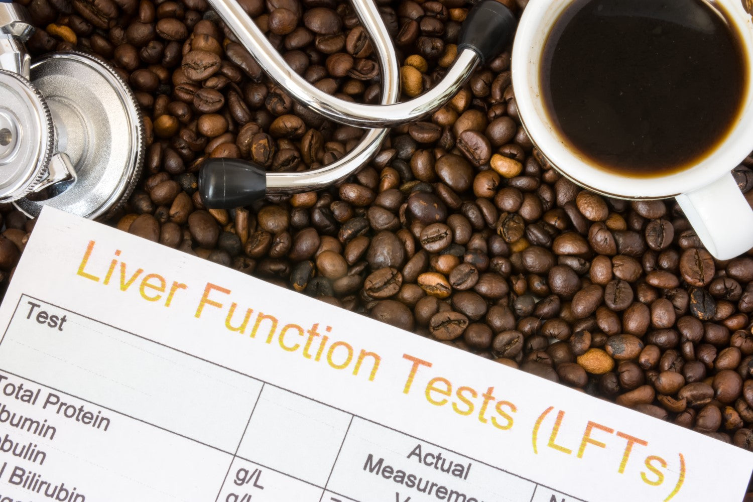 coffe beans, liver test and cup of coffee