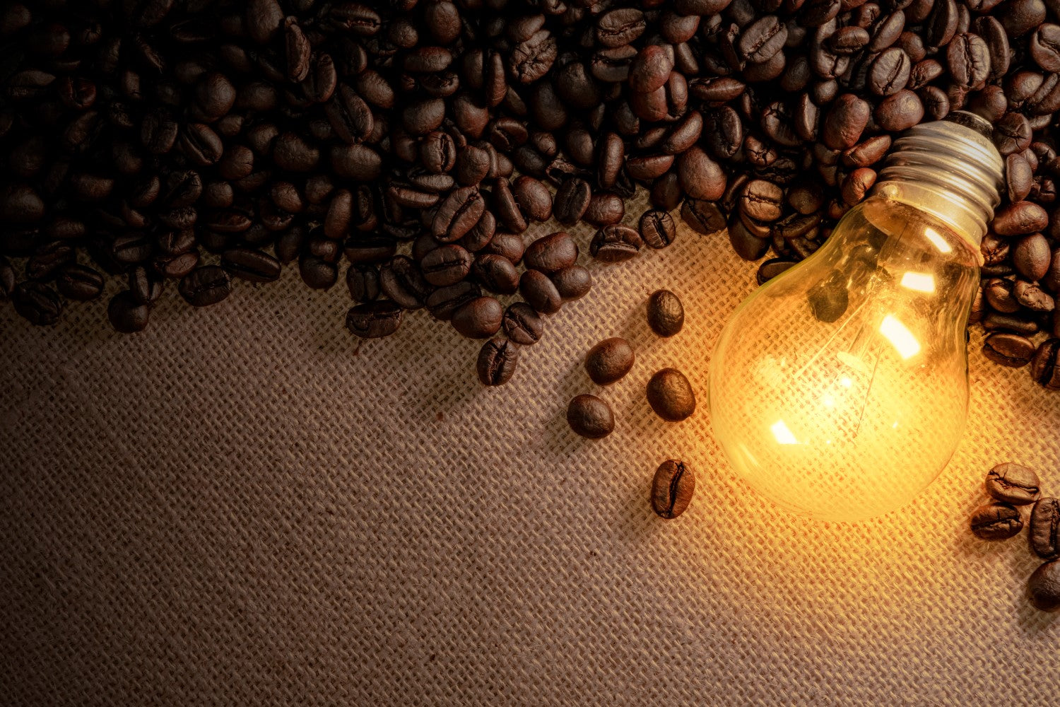 lightning bulb with coffee beans