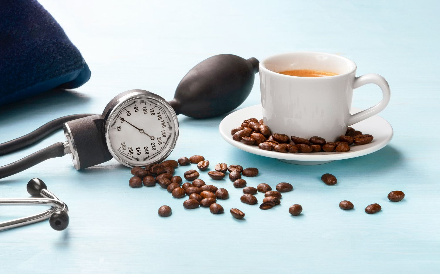 coffee, coffee beans and stethoscope