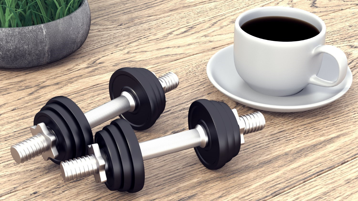 black coffee on cup with two barbell