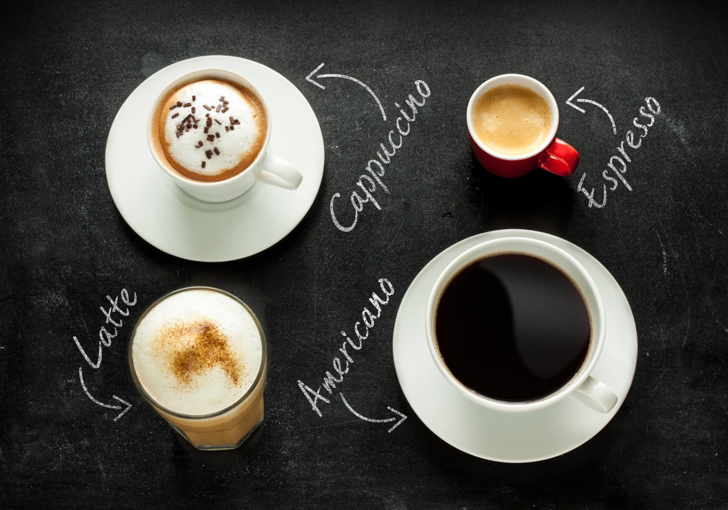 4 different coffee with their name