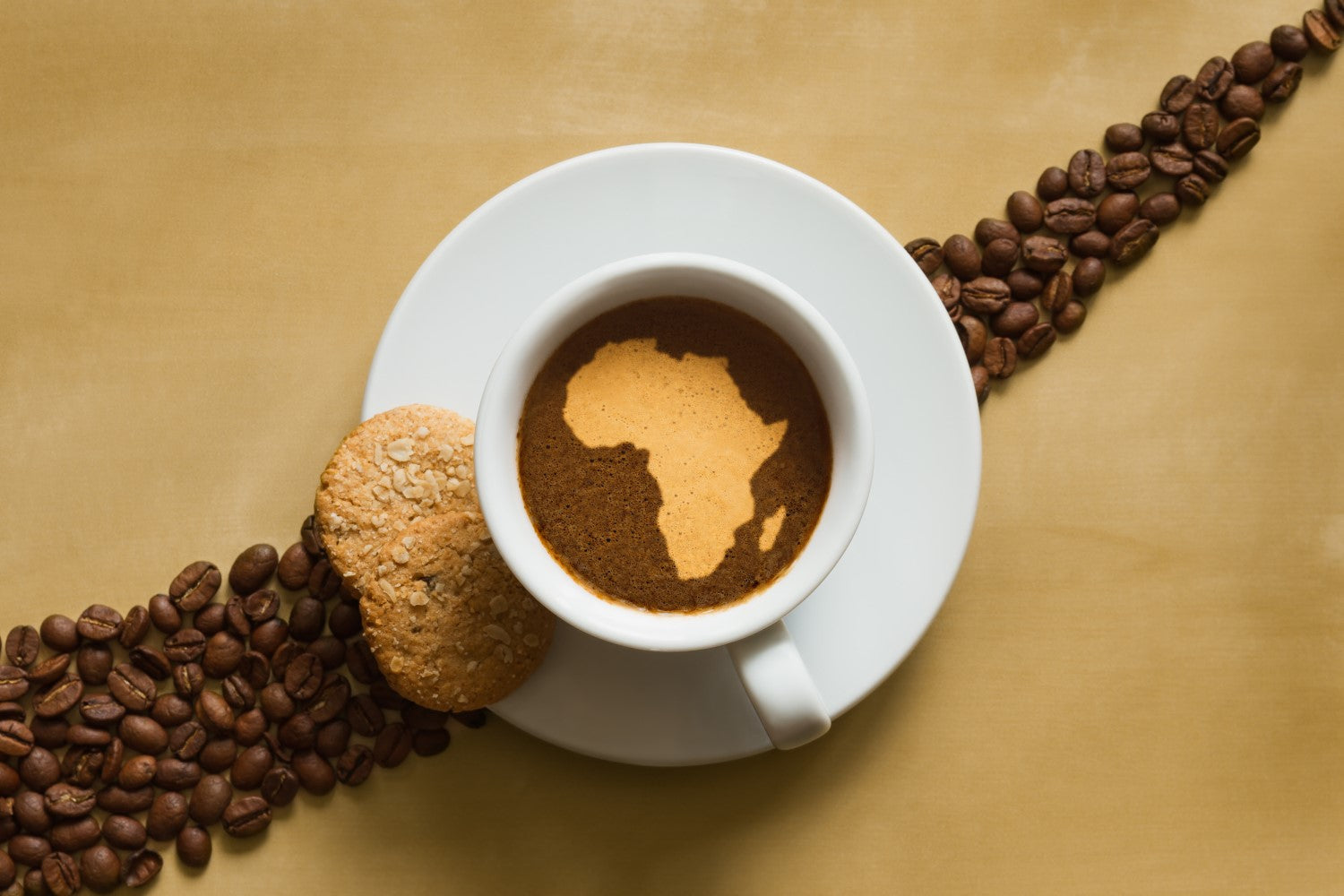 grind coffee on a cup with map of africa