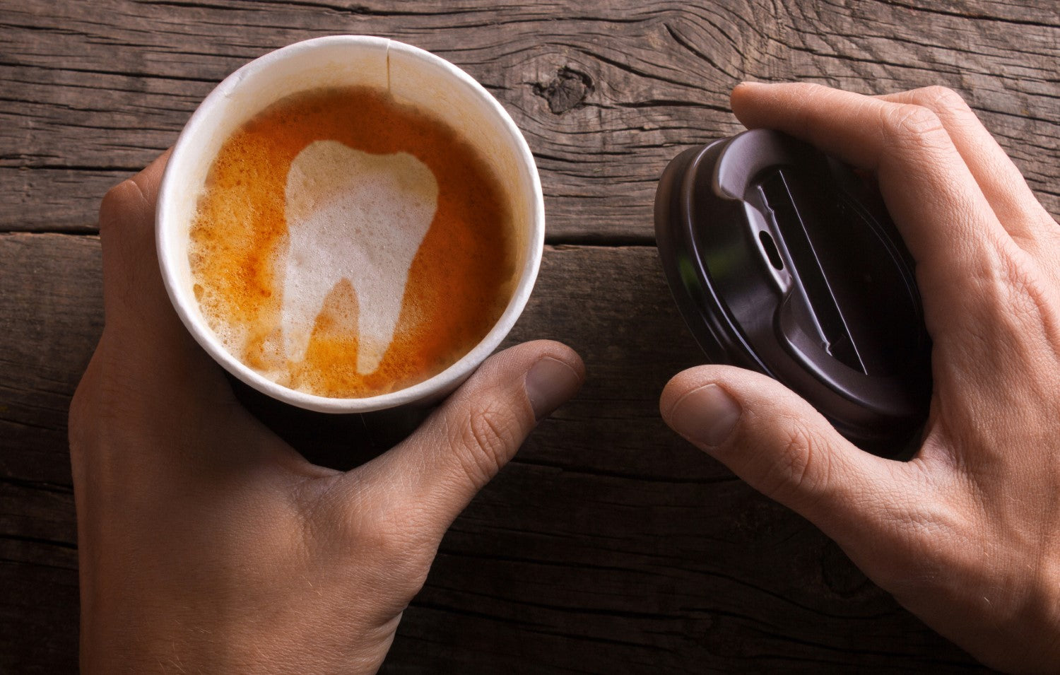 coffee with tooth design on top
