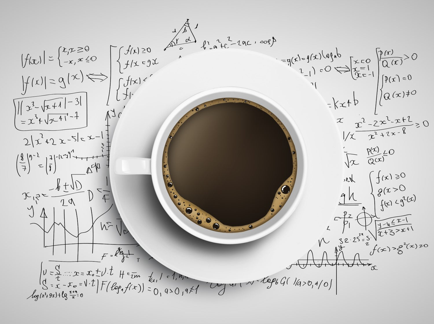 cup of coffee with science formula in a paper