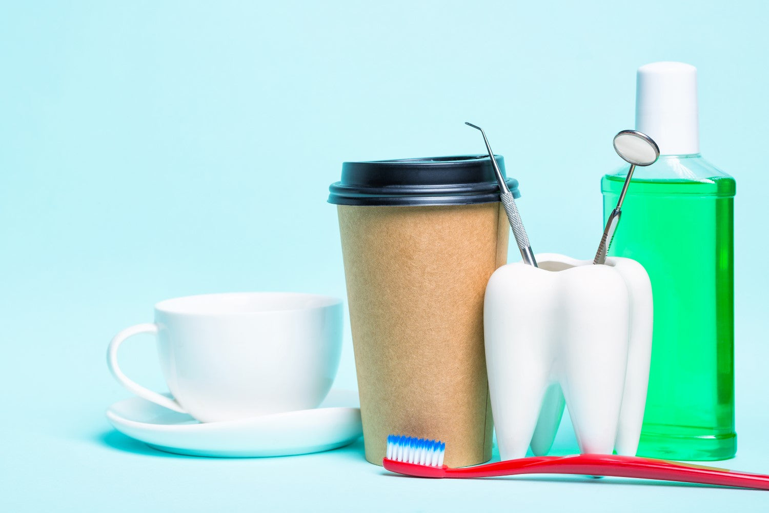cup, coffee, tooth, toothbrush and other oral hygiene
