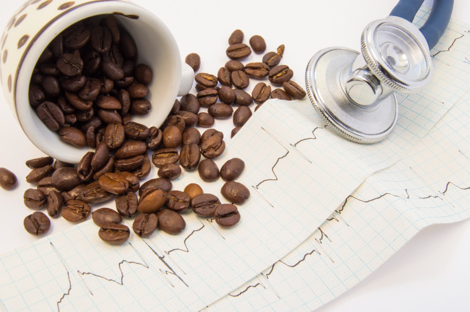 coffee beans and stethoscope
