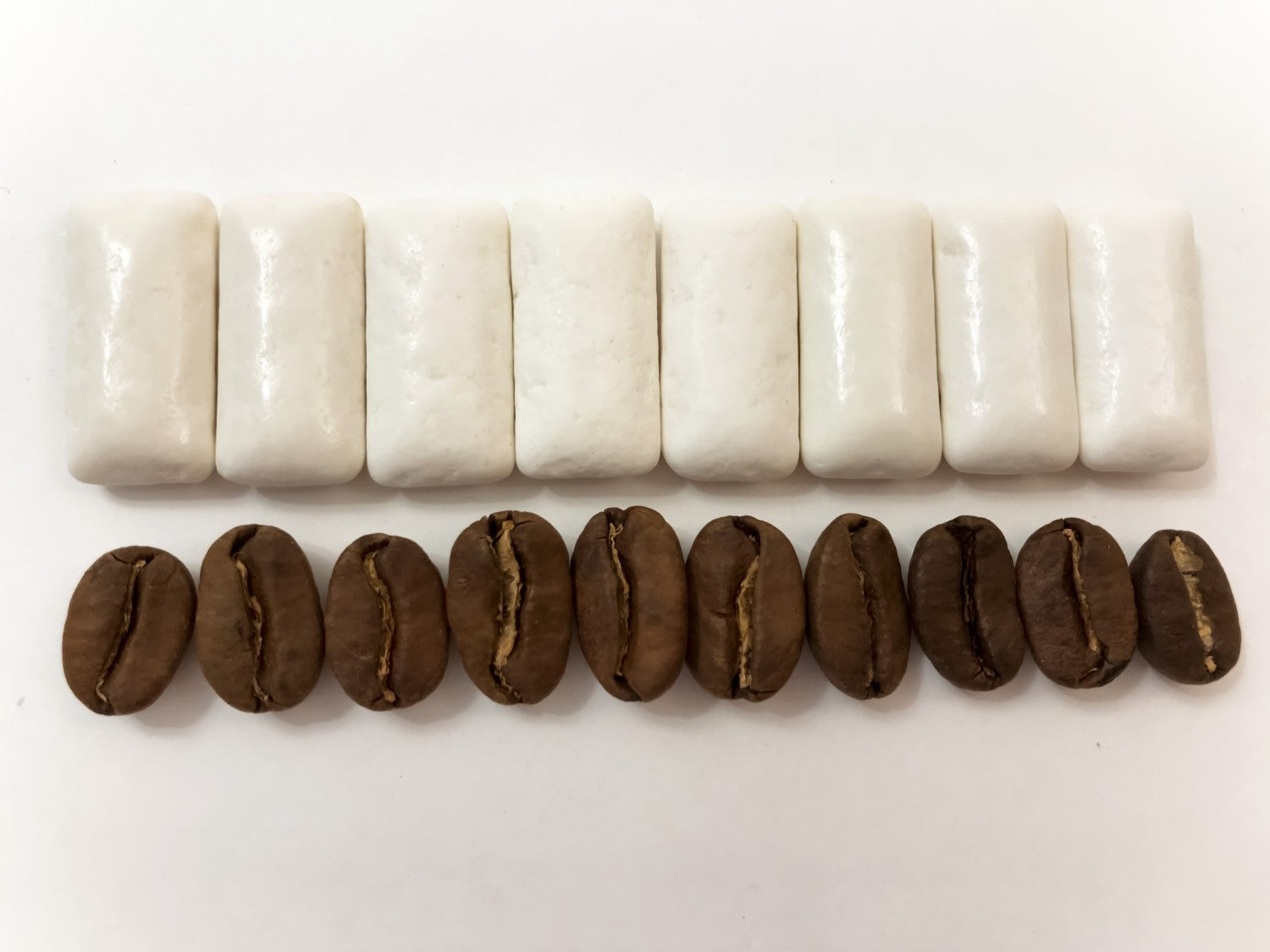 chewing gum and coffee beans