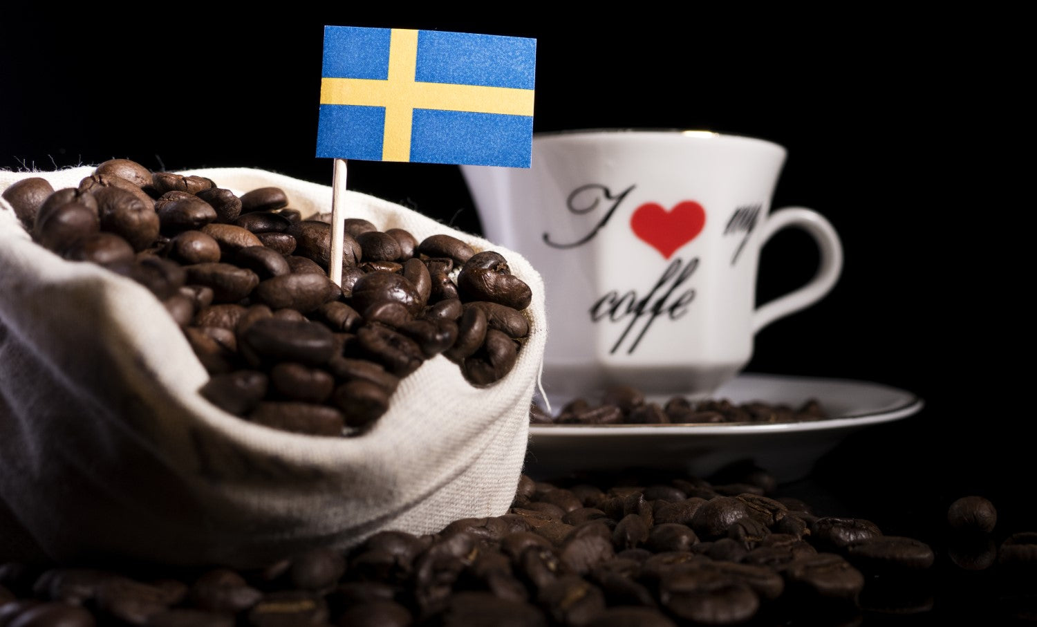 coffee, beans and flag of sweden