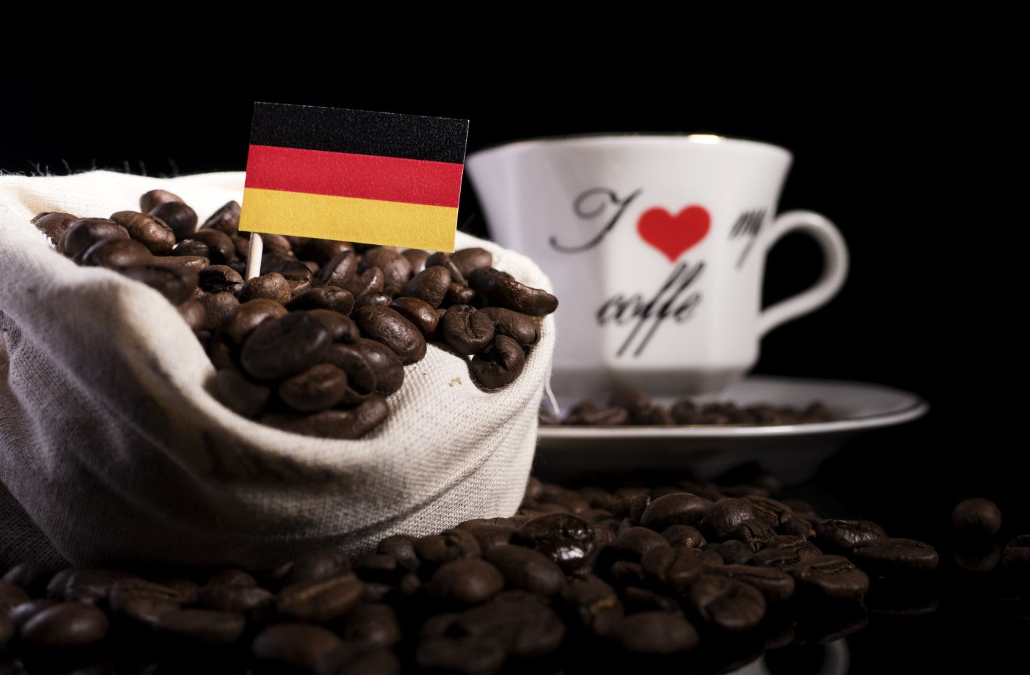 coffee, beans and flag of germany