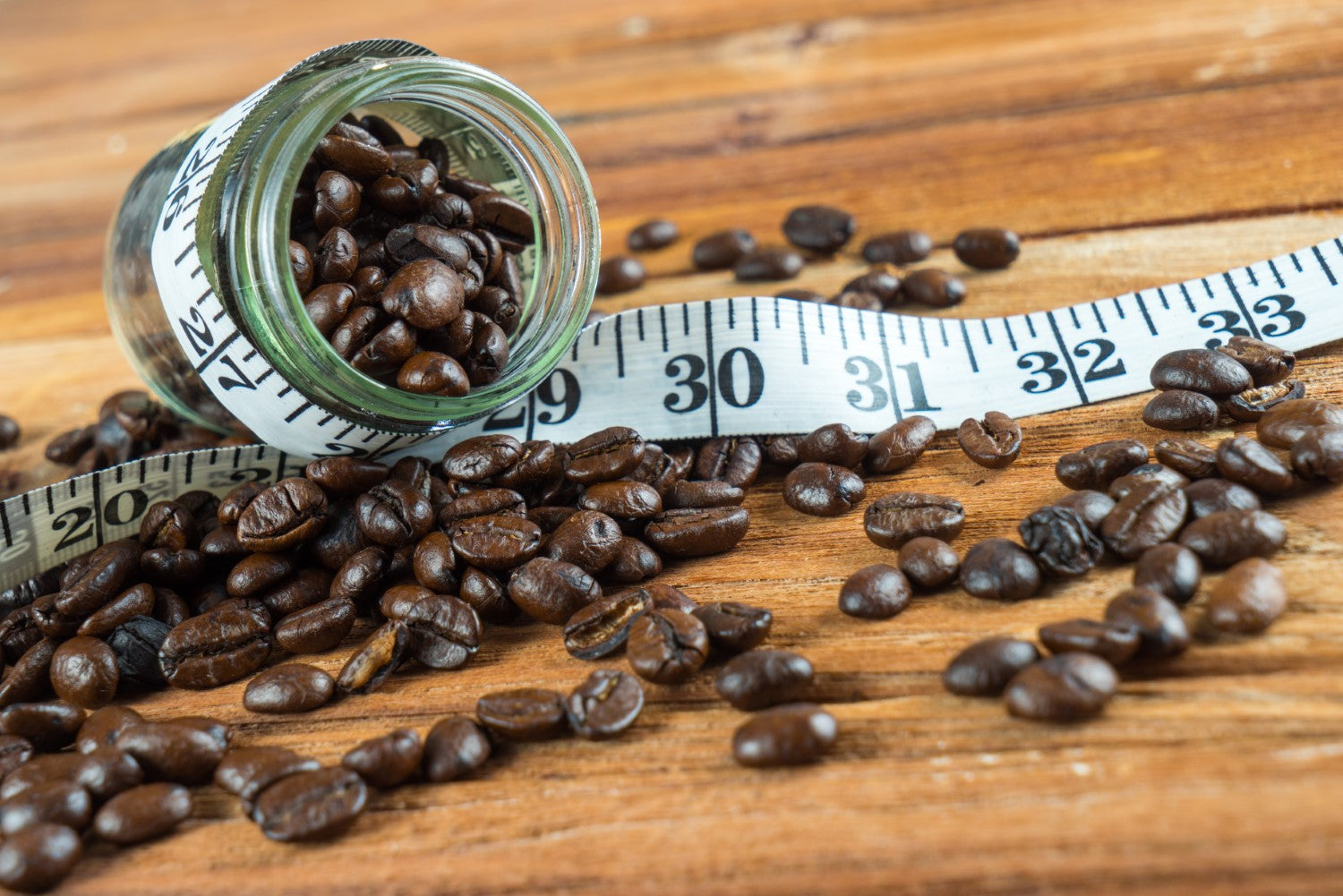 coffee beans and tape measure