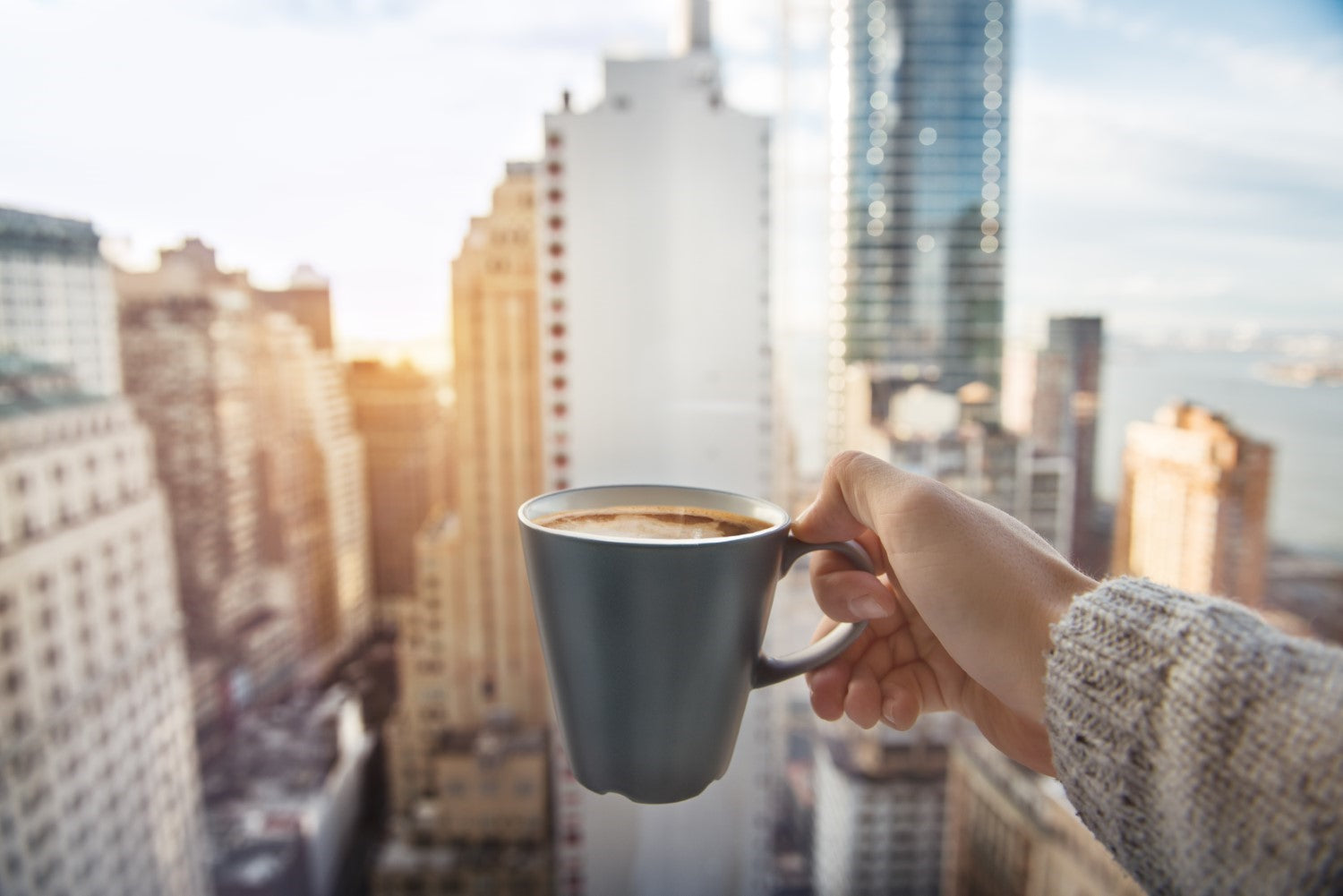 coffee with buildings on the background
