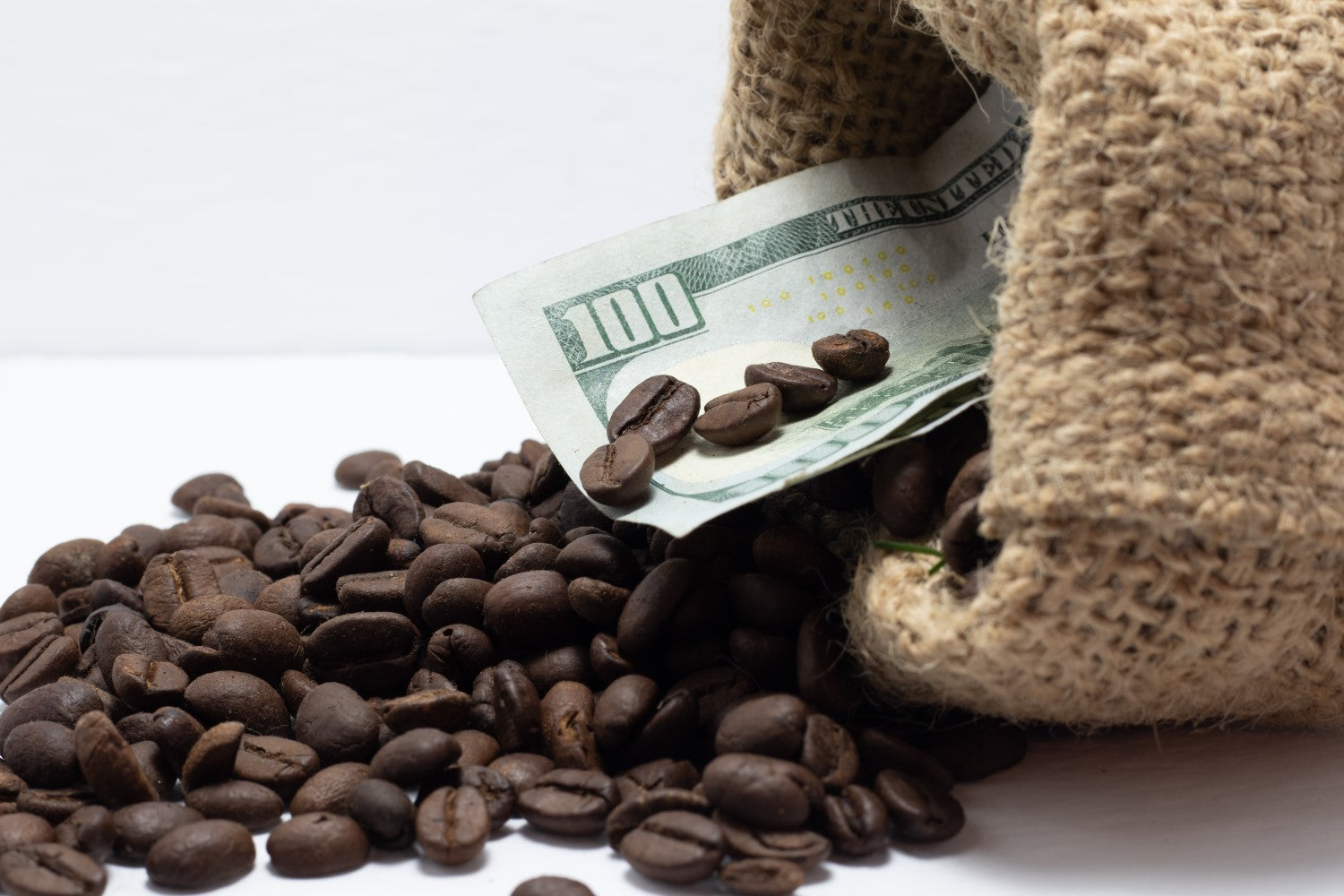 coffee beans with dollar