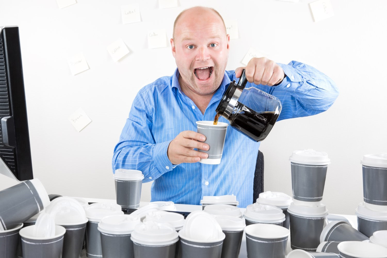 man excited to drink a coffee