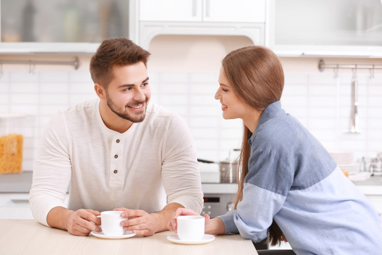 couple having chat time with coffee