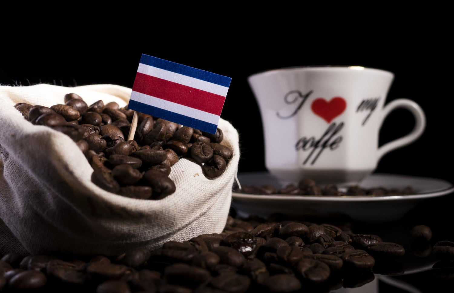 costa rica flag on coffee beans