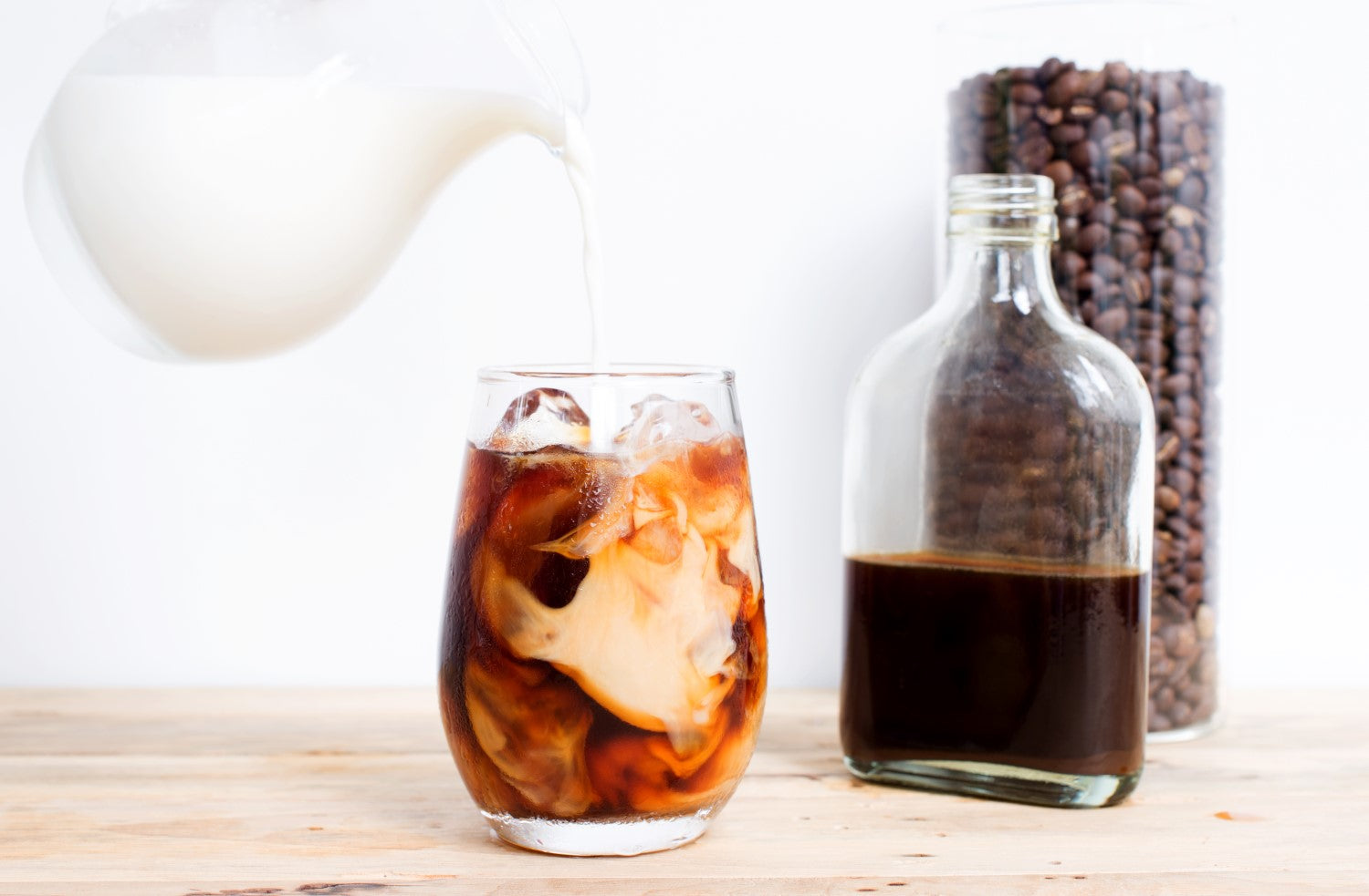 pouring cold brewed coffee