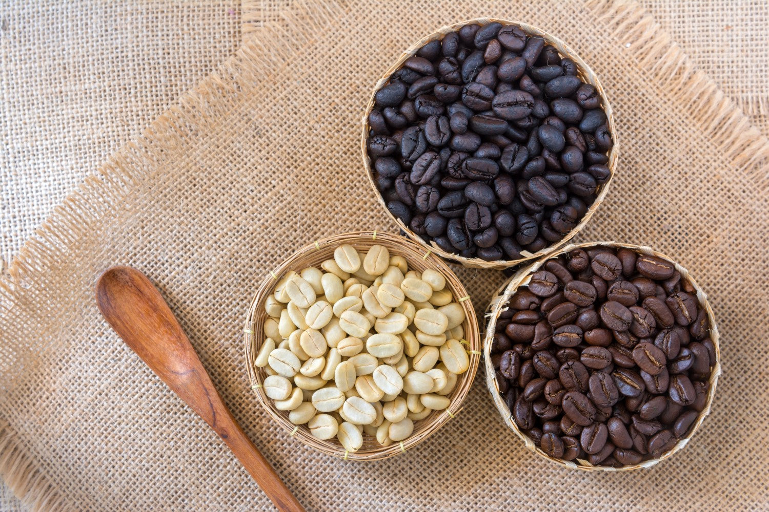 white, medium and dark coffee beans