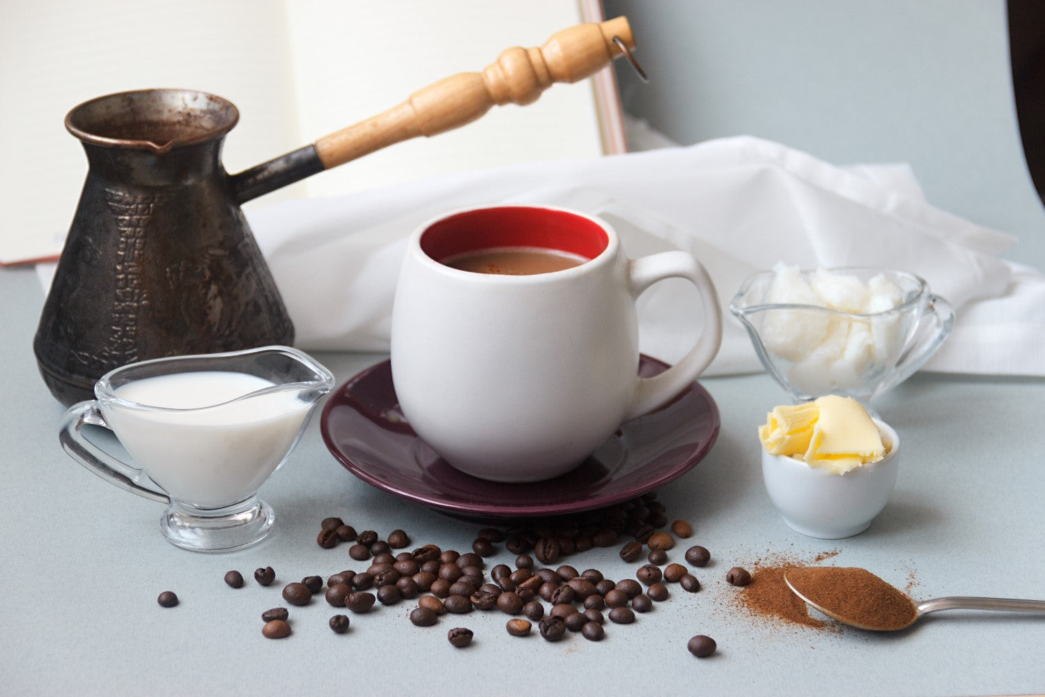 coffee, milk, butter and beans