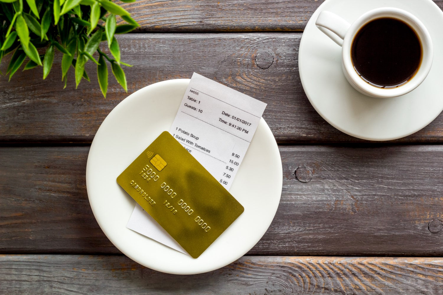 credit card, receipt and coffee
