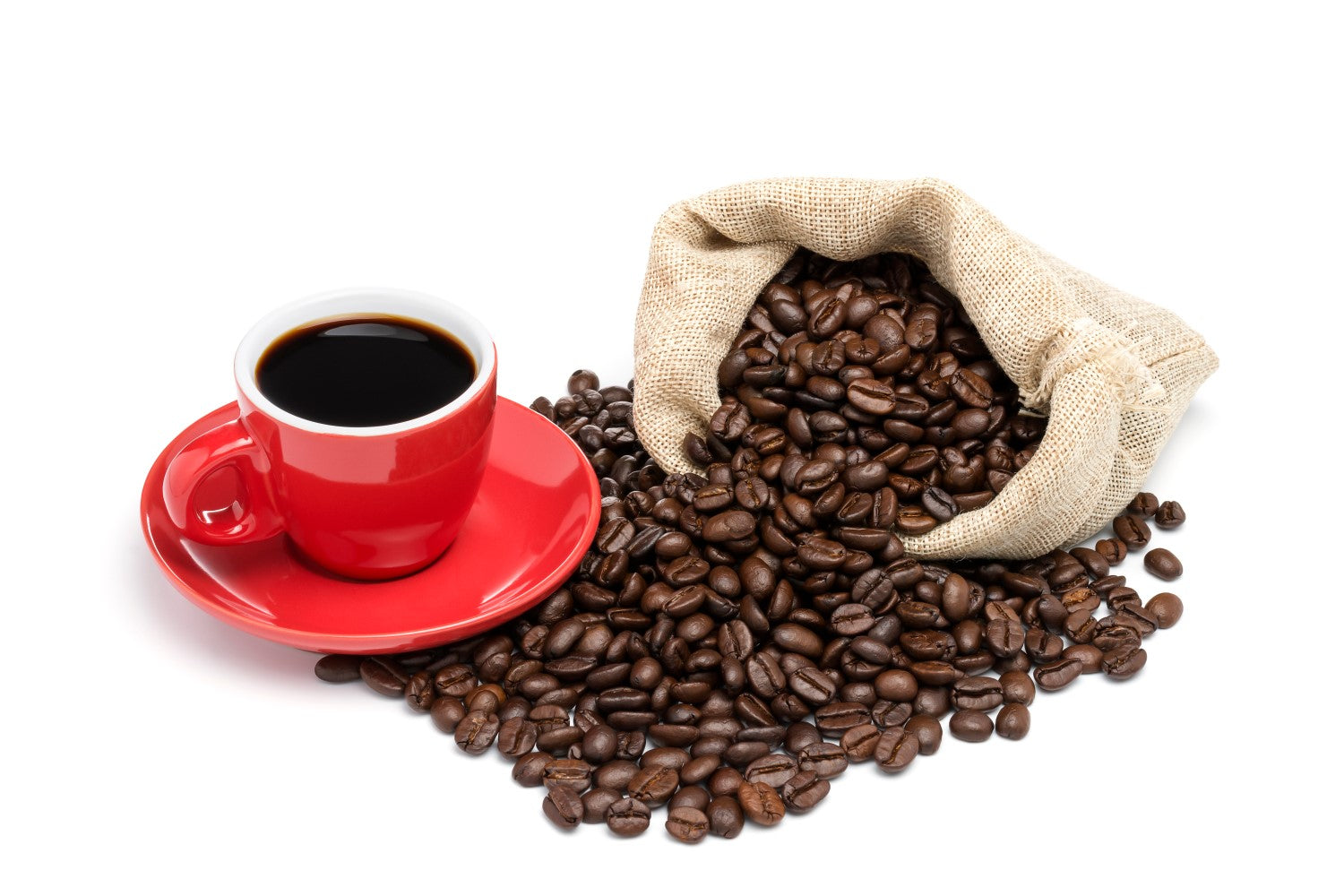 black coffee with sack of beans