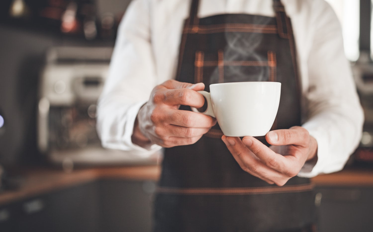 serving a hot coffee