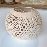 Coconut Candle Holder ~ Organic Dots ~ Natural